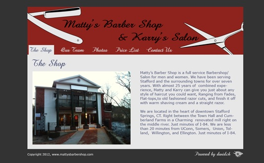 Capture d'écran du site internet de Matty's Barber Shop and Karry's Salon