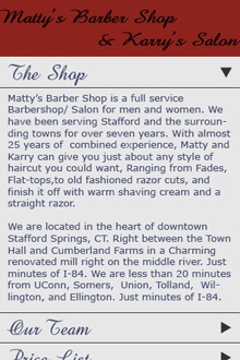 Capture d'écran du site mobile de Matty's Barber Shop and Karry's Salon